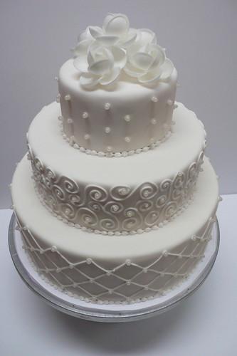 Classic White Fondant Wedding Cake