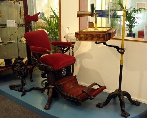 Vintage dental chair at the British Dental Association Mus