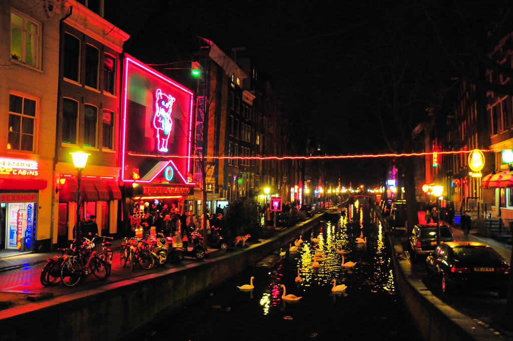Amsterdam Red Light District With Swans At Night Red