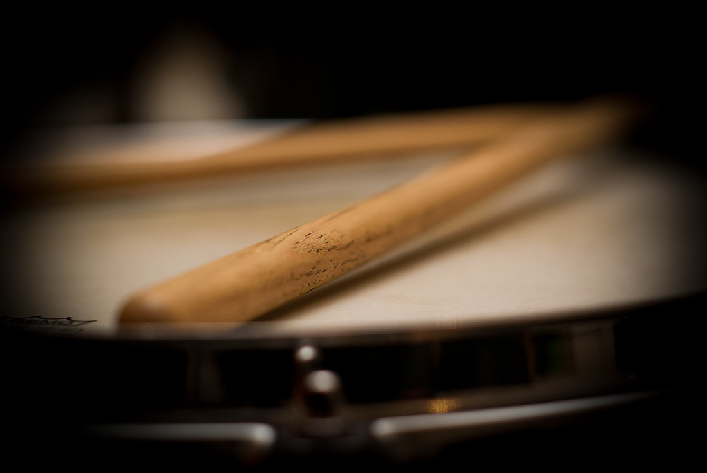 Drumsticks On Snare Drum Was Round At A Mates House