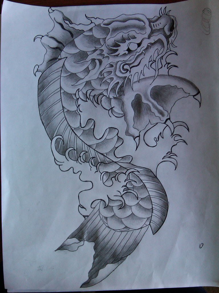 Koi dragon tattoo design mark295 flickr for Black dragon koi