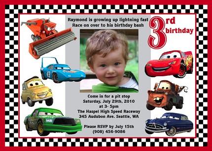 Disney Cars Lightning McQueen Matter Custom Birthday Invitation