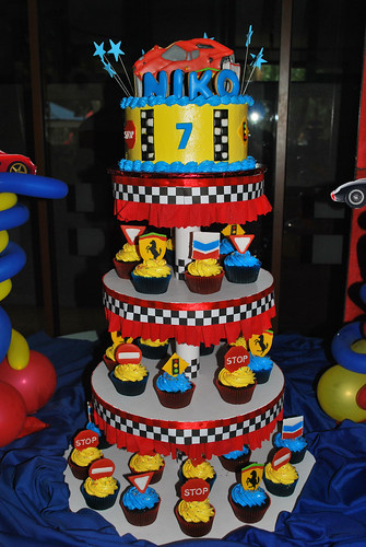 Ferrari Cake And Cupcake Tower Cookie Car Topper And