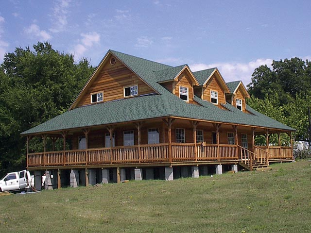 Two Story Ranch Cabin Options Shown Full Wrap Around