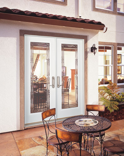 Feather river door fiberglass patio doors smooth white d for Fiberglass patio doors