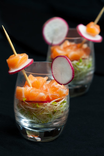 salmon ceviche with alfalfa sprouts and white raddish pickle | by pvcpvc