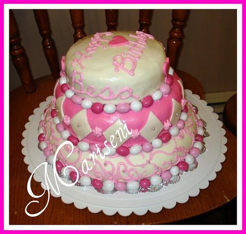 Pink and white birthday cake pink & white birthday cake ...