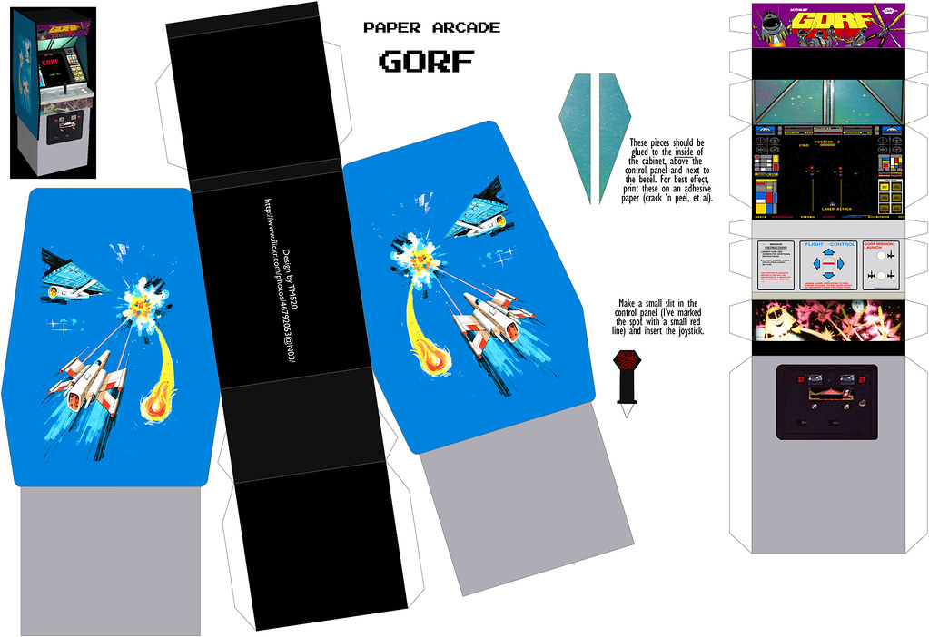 Paper Arcade #39: Gorf   This one is assembled similarly ...