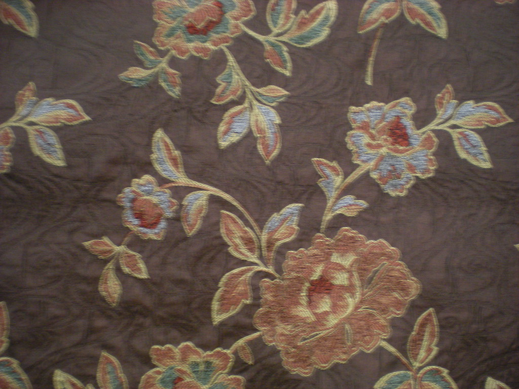 22689 floral chenille on solid chocolate woodlands fabrics interiors flickr for Woodlands fabric and interiors