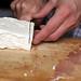 slicing feta block