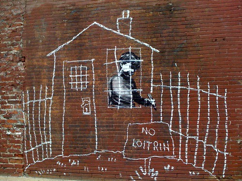 Banksy in Boston: Overview of the NO LOITRIN piece on Essex St in Central Square, Cambridge | by Chris Devers