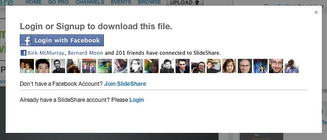 login to slideshare with facebook