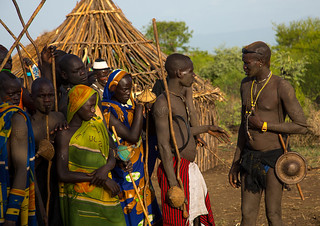 Young men during the fat men ceremony in Bodi tribe, Omo valley, Hana Mursi, Ethiopia | by Eric Lafforgue