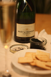 Champagne, Caviar (fake), and Crackers | by naotakem