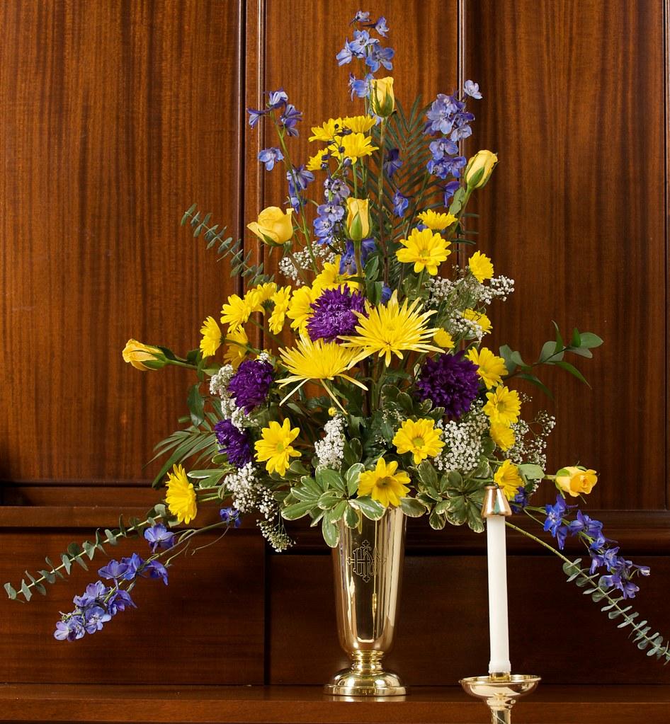 Yellow Wedding Flower Arrangements Church Altar: Wedding Flower Arrangement, Saint James Church