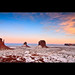Sunset  in Monument Valley - The Mittens - Arizona