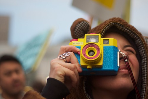 Taking photos with a Holga at the March against Muni | by Steve Rhodes