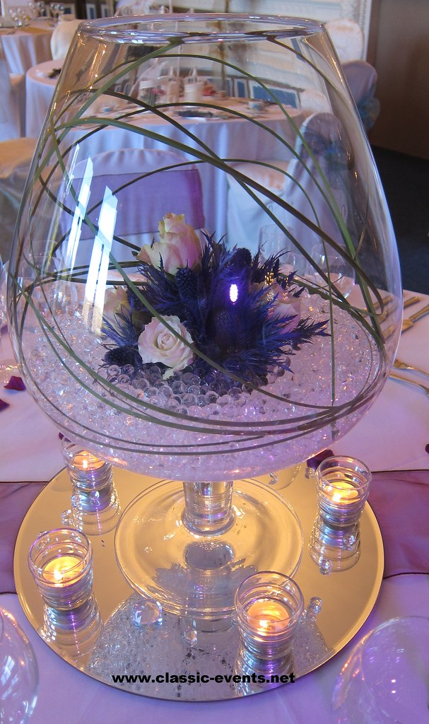 Classic Events Brandy Vase Centerpiece with rose & thistle… | Flickr