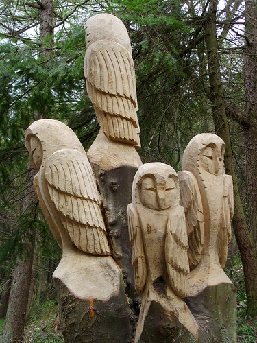 Four owls carving chainsaw of by steve