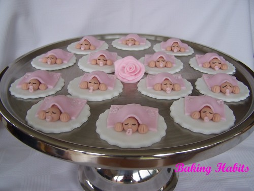 Baby shower cupcake toppers front view of baby shower for Baby shower cupcake picks decoration