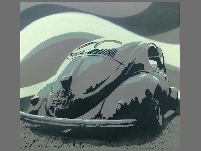 New Volkswagen Beetle >> VW Beetle stencil | VW 1951 Beetle spray painted on canvas ...