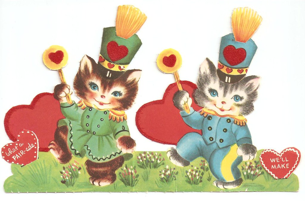 Vintage Kitty Cat Parade Valentines Day Card | The card ...