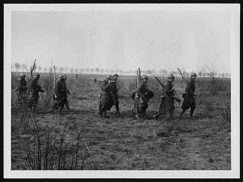 French Troops moving up into action | by National Library of Scotland