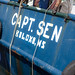 The boat 'Captain Sen' sits docked and unused in Biloxi, Mississippi - TEDx Oil Spill