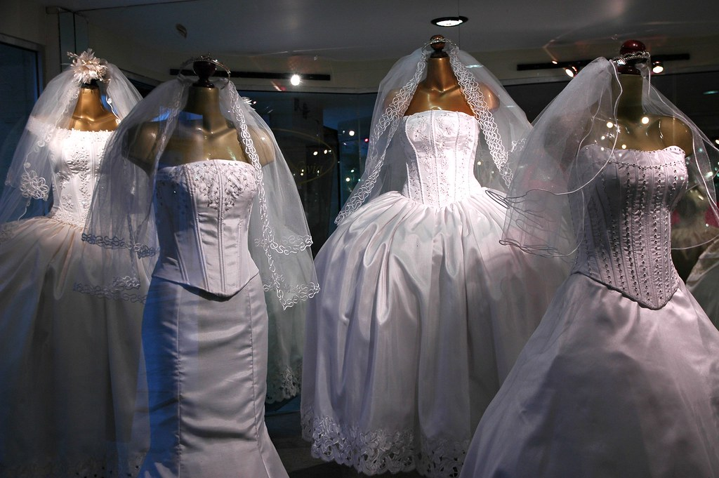 White Wedding Dress With Red Shoes