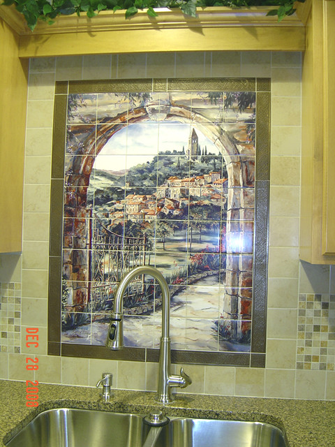 Italian Tile Mural Scene Golden Gate To Umbria Kitchen