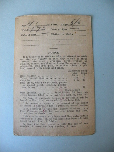 Backside of 1931 illinois fishing license can you guess for Ms fishing license