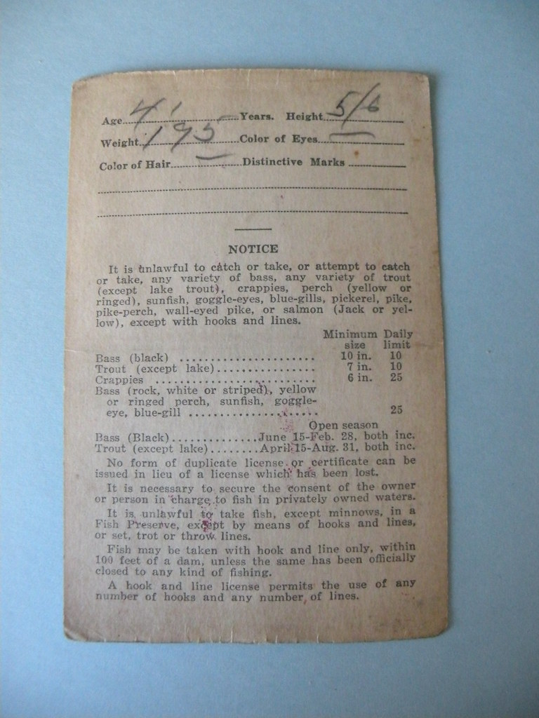 Backside of 1931 illinois fishing license can you guess for Fishing license illinois