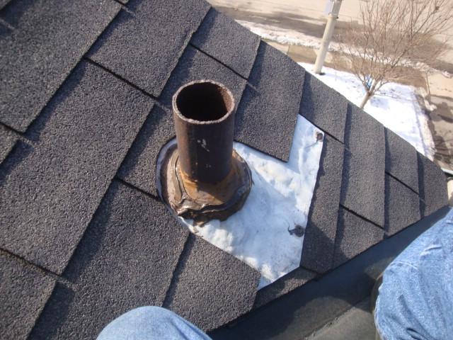 Repair leak around vent pipe roof or eavestrough is - Roof air vent leaking water ...