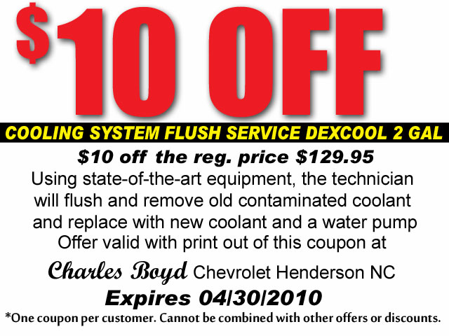 ... Coolant Flush Service Coupon | By Charles Boyd Chevrolet