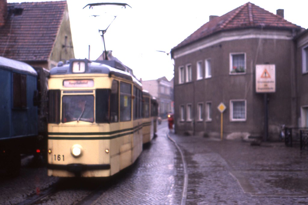 Plaue Brandenburg Ddr Reko Tram Nr 161 Linie 1 May 1990