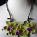 Crochet Green and Purple Orchid Flowers Necklace