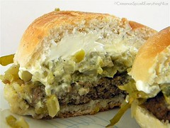 Blogger Burger Club: Green Chile Pepper & Cream Cheese Burger | by CinnamonKitchn