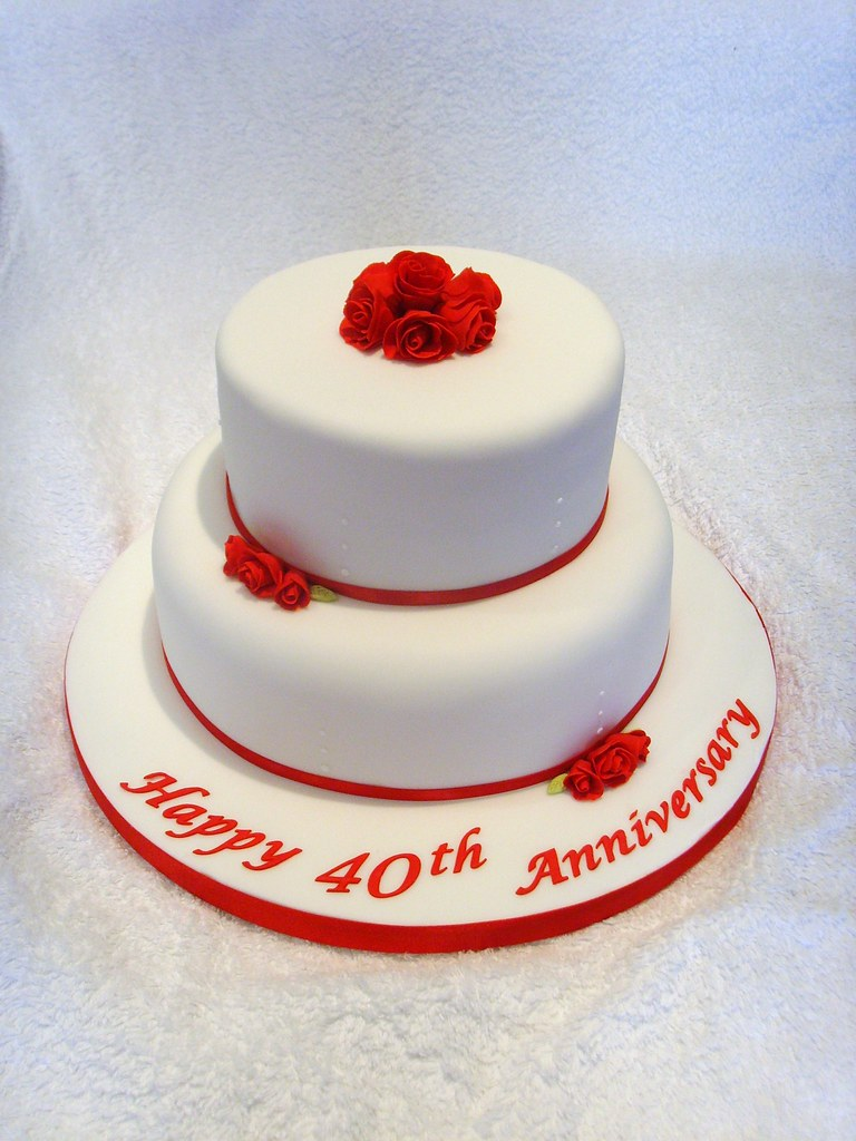 Ruby Wedding Anniversary Cake Ruby Wedding Anniversary ...