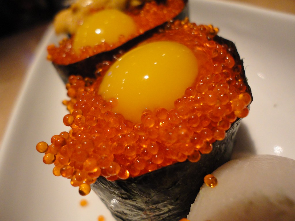 flying fish roe nigiri with quail eggs food fixation
