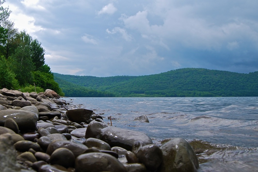 Cannonsville shoreline before the rain snuck up on me i for Free fishing license ny