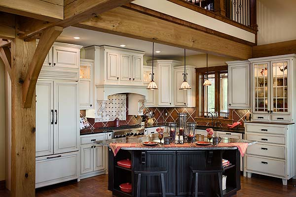 Cattail lodge timber frame home kitchen this kitchen for Timber frame kitchen