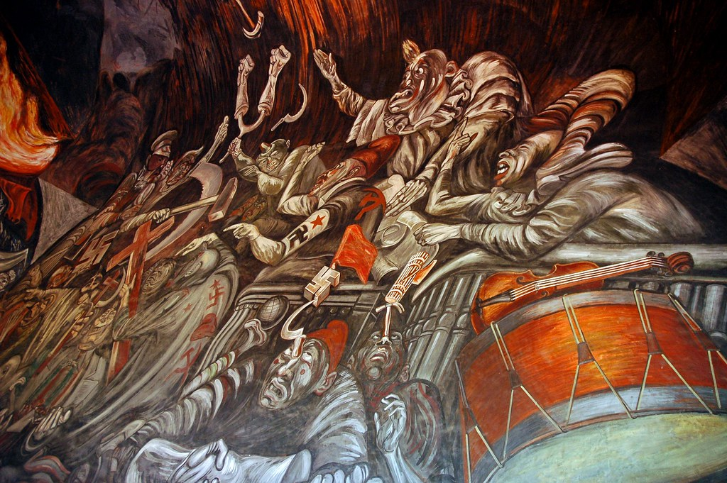 Drums and violins balcony clowns of war arguing in hell for Aviso de ocasion mural guadalajara