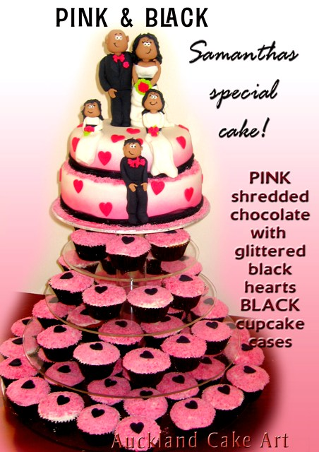 PINK & BLACK WEDDING CAKE AND CUPCAKES | PINK AND BLACK wedd… | Flickr