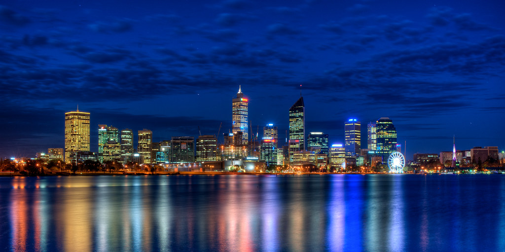 Perth City View At Blue Hour Just Arrived After Sunset