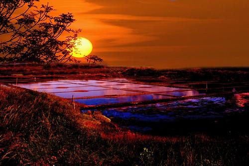 Coucher de soleil sur les marais salant de gu rande bretag - L heure du coucher du soleil aujourd hui ...