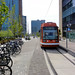 Bike parking and streetcar coexist