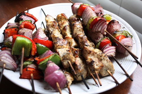 Garlic Lemon Chicken Kabobs w/ Grilled Vegetables | by niftyfoodie