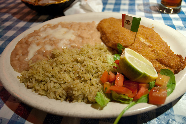 Fried fish with rice and beans rice comes in both red for Ted s fish fry