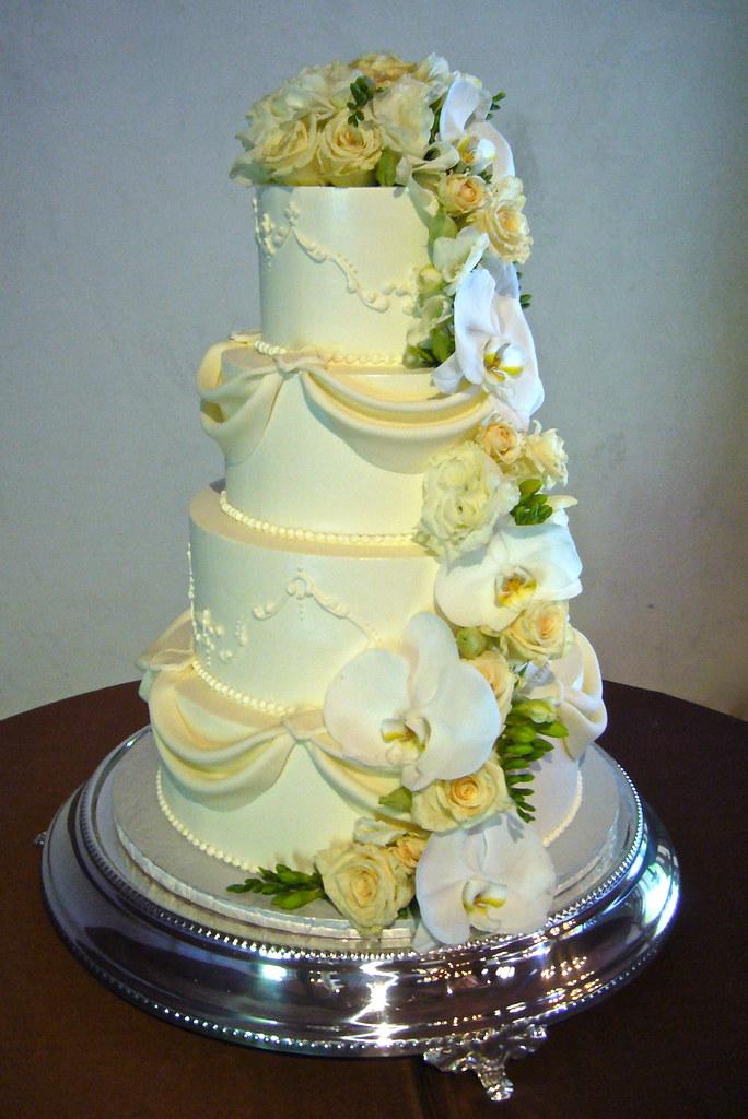 Swags Flower Cascade Wedding Cake