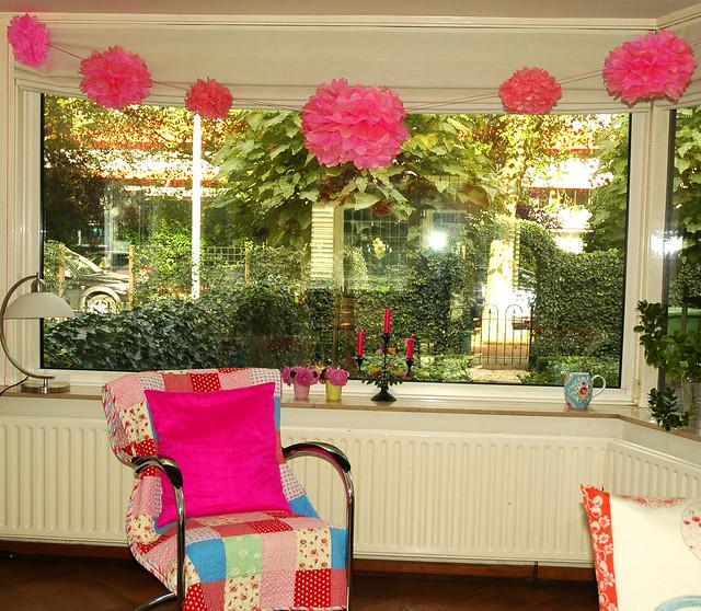 pink pom poms decoration flickr photo sharing. Black Bedroom Furniture Sets. Home Design Ideas